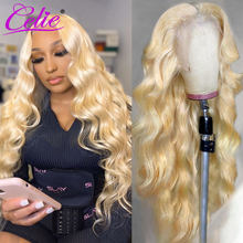 Celie – perruque Lace Frontal Wig 613 Body Wave, blond 180, 4x4, 13x6, HD, densité 613