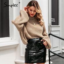 Simplee Winter latarnia rękaw sweter z dzianiny sweter kobiet luźny O-neck solidny sweter kobiet jesień swobodny sweter jumper nowy