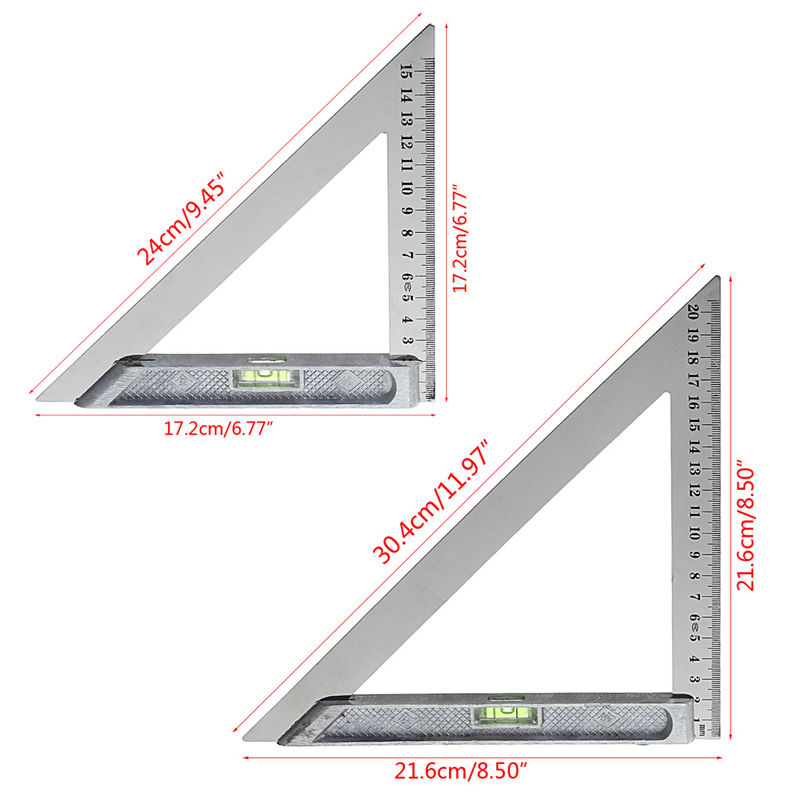 2020 New 200mm Triangle Ruler 90degree Alloy Measuring Tool With Bead Horizontal Woodworking