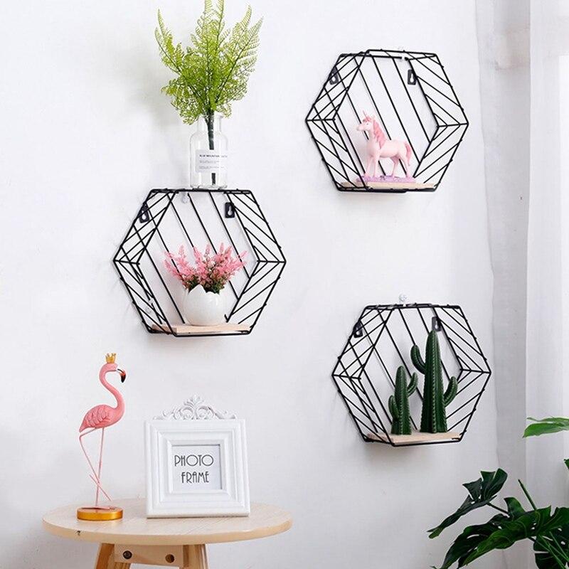 Iron Grid Wall Shelf Combination Wall Hanging Geometric Figure For Wall Decoration Living Room Bedroom Nordic Rack