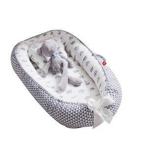 Детская переносная кроватка-гнездо для путешествий, Детская Хлопковая Колыбель для новорожденных, детская люлька, бампер для детей, младен...