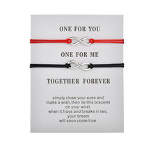 Together Forever Love Infinity Bracelet for Lovers Black Red String Couple Bracelets Wedding Wish Jewelry Women