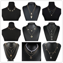 2019 New Multilayer Crystal Moon Pendant Necklaces For Women Vintage Charm Choker Necklace Statement Party Jewelry Accessories