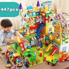 QWZ yeni büyük boy kale dönme dolap parkı slayt yapı taşları DIY tuğla oyuncaklar çocuk noel hediyeler için