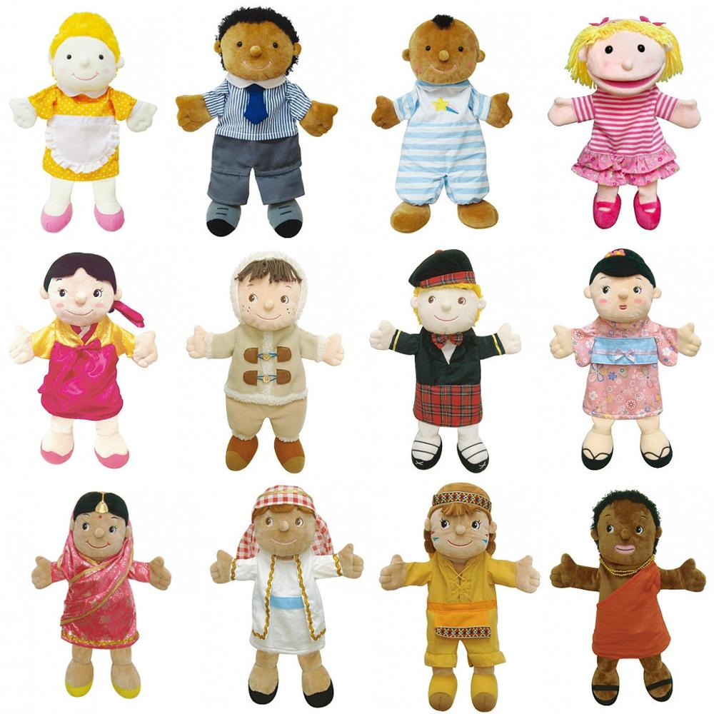 35cm Professional Dress Up Cute Boy And Girl Couple Hand Puppets For Toddler Early Learning High Quality Plush Puppet Toy