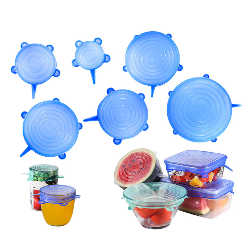 Silicone Food Lids Stretch Storage Bowl Reusable Covers Kitchen 6pcs Universal
