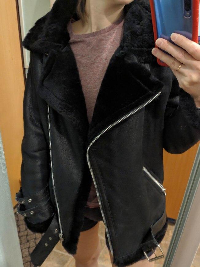 Darmowa wysyłka, moda damska kurtka z prawdziwej skóry, zimowe ciepłe futro. kożuch z wełny kurtki, plus rozmiar owiec shearling w Skóra i zamsz od Odzież damska na  Grupa 2