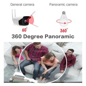 Image 4 - IP מצלמה 360 תואר LED אור 960P אלחוטי פנורמי בית אבטחת אבטחת WiFi CCTV Fisheye הנורה מנורת שתי דרכים אודיו