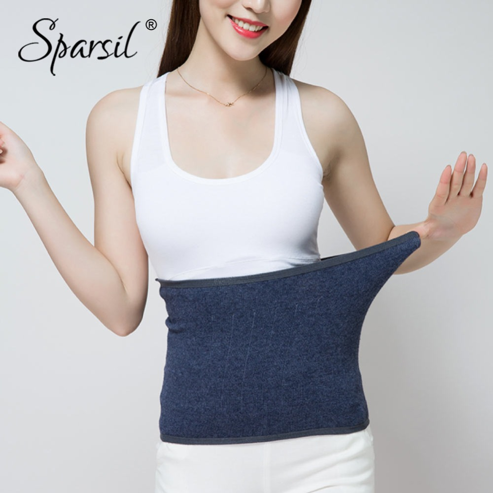 Sparsil Women Autumn Thin Elastic Cashmere Knit Cummerbunds Waist Back Support Fitness Female New Warm ColdProof Slimming Shaper