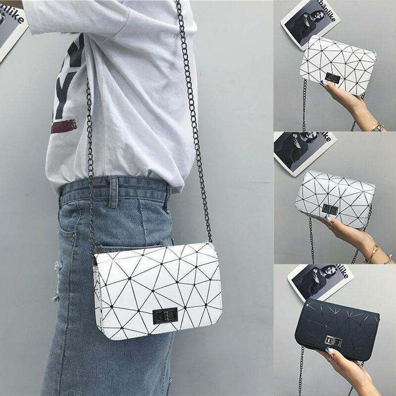 NoEnName-Null Hot Women Ladies Leather Chain Cross Body Messenger Side Bag Diamond Shoulder Evening Handbag Purse
