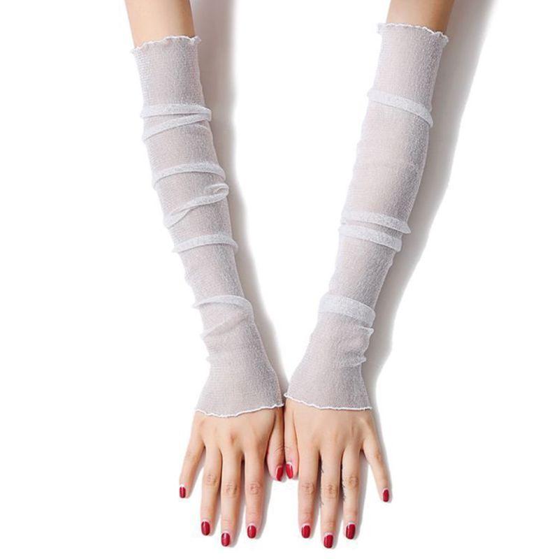 Women Women Girls Ultra-Thin Sheer Glitter Mesh Long Lace Gloves Metallic Shimmer Solid Color UV Protection Arm Sleeves Ruffles