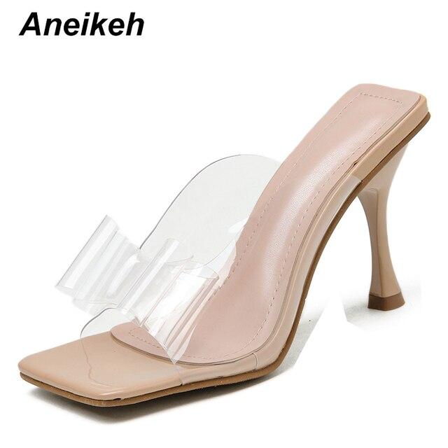 Aneikeh Sexy couleur PVC papillon-noeud tête carrée sandales à talons hauts pantoufles mode dété sans lacet talons diapositives femmes Mules