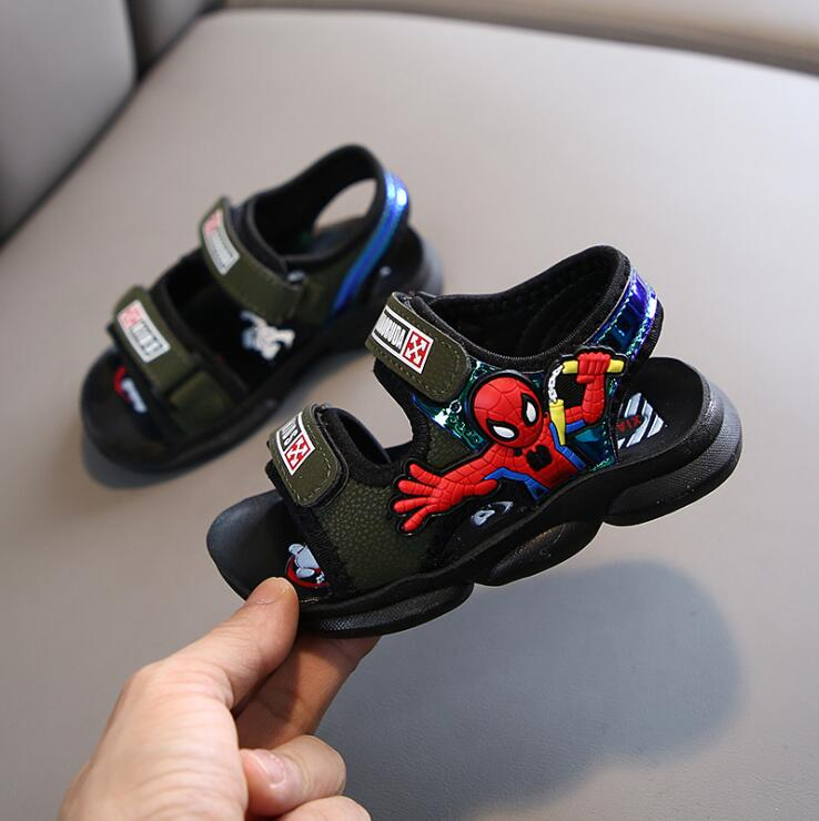 Children Sandals For Boys Summer Spiderman Spider Man Cartoon Fashion Kids Beach Sandals For Toddlers