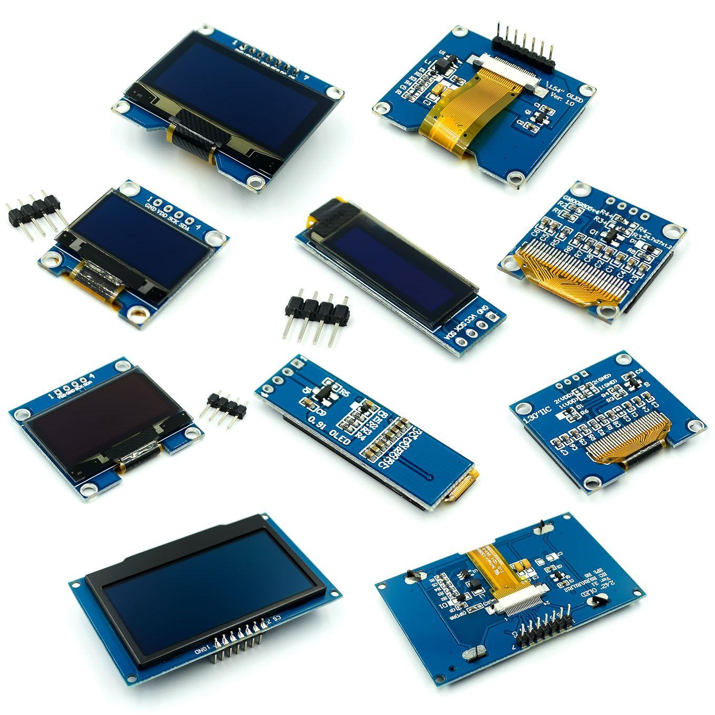 0.91 0.96 1.3 1.54 2.42 polegada iic série branco azul oled módulo de exibição 128x64 i2c ssd1306 12864 lcd para arduino