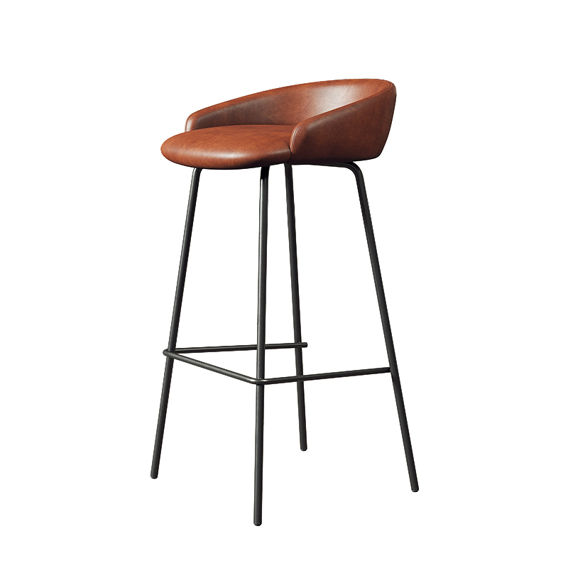 Northern Europe Light Luxury Bar Chair Household Modern Simple High Chair Iron Leisure Bar Front Desk Coffee Shop High Stool