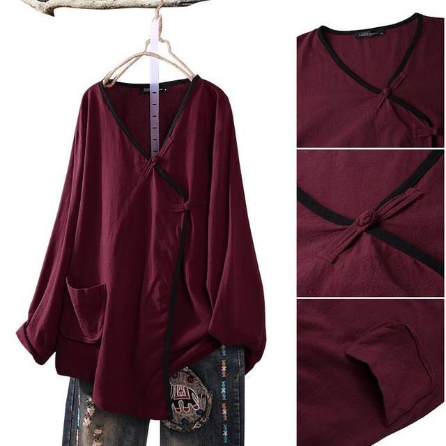 Long Sleeve Linen Blouse  5