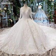 LS53710G luxe trouwjurken lange mouw o hals open back baljurk bridal dress up jassen 2019 promotie vestido de noiva