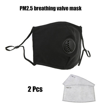 1pcs Cotton Breathing Valve Mask +2Pcs PM.25 Filter mouth Mask anti dust mask Windproof Mouth-muffle Flu Face masks Care