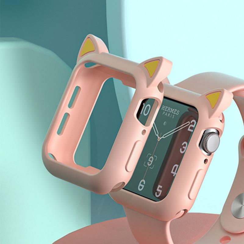 Часы Защитная крышка для наручных часов Apple Watch 4 5 6 Plus se 40 мм 44 мм Мягкие силиконовые Мультяшные кошачьи уши чехол для наручных часов iWatch, верс...