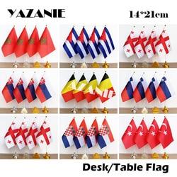 Yazanie 14*21cm 4 pçs marrocos cuba geórgia eslováquia país do mundo mesa bandeira bélgica eslovénia croácia turquia bandeira nacional