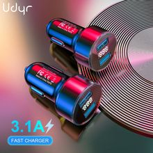 Udyr 3 1A Dual USB Car Charger With LED Display Mobile Phone Car-Charger for Xiaomi 9 Samsung S8 iPhone 11 6 6s 7 8 Plus Table cheap 2 A Ports Car Lighter Slot ROHS 3 1A Car Usb Charger other 12-24V 2 4A Black Red Gold Silver Blue USB Car Charger LED Display Car-Charger