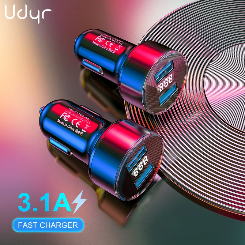Udyr 3.1A Dual USB Car Charger With LED Display Mobile Phone Car-Charger for Xiaomi 9 Samsung S8 iPhone 11 6 6s 7 8 Plus Table