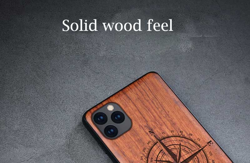 All-inclusive Emboss Solid Wood Carving Protective Cover Case For iPhone 12 Pro Max 1