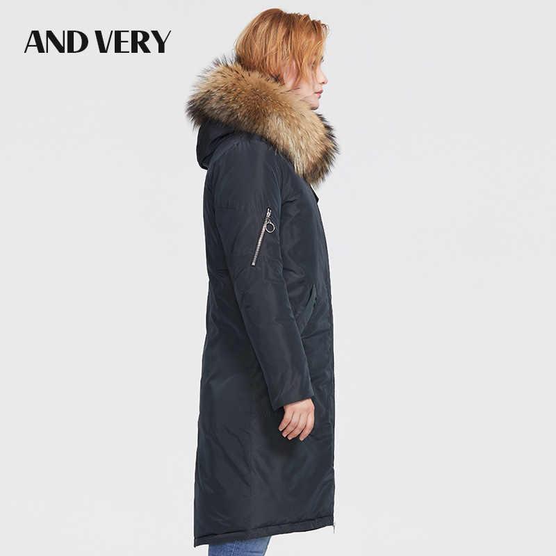 ANDVERY 2019Winter neue ankunft frauen mantel winter kragen natürliche pelz mit kapuze top dicke baumwolle lange unten jaket für frauen 9990