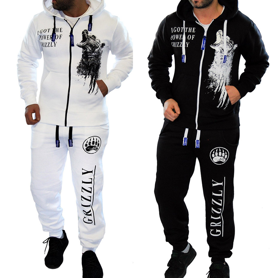 Zogaa Tracksuit Men's Casual Suit Autumn Men's Hooded Sweatshirt+Joggers 2 Pieces Of Set Letter Printed Zipper Jacket Sweatsuit
