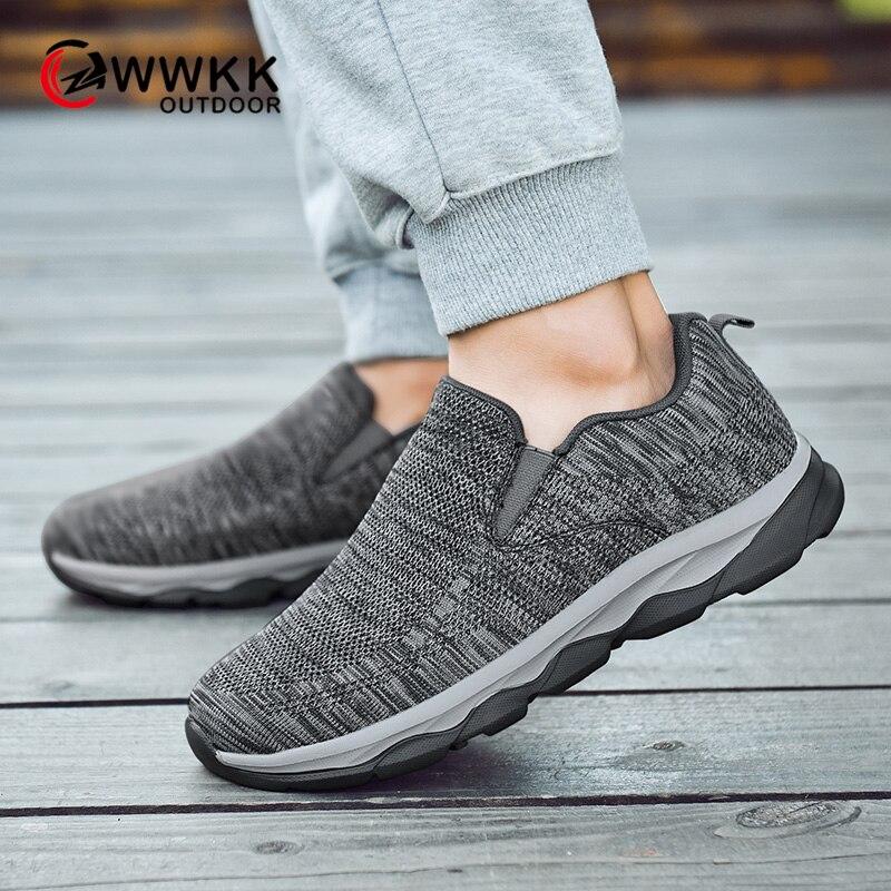 WWKK/Женская прогулочная обувь из дышащего сетчатого материала; легкая повседневная обувь без застежки на плоской подошве; женские кроссовки...