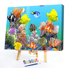 Painting By Numbers Kit DIY Fish World Hand Painted Digital Oil Art Picture  full square diamond painting DIY hand puzzle embroi