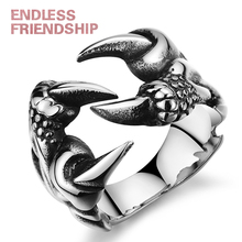 HOMOD Fashion Retro Punk Chrome Jewelry Titanium Steel Dragon Claw Heart Party Rings for Men Accessories WC0107