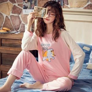 Image 5 - 甘いかわいい漫画綿 100% パジャマ女性パジャマセット秋の綿セクシーな春の女性パジャマ pijamas mujer