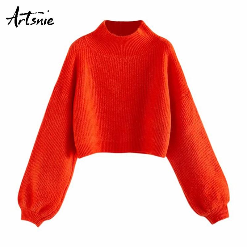 Artsnie Autumn 2019 Red Casual Crop Sweater Women Streetwear Turtleneck Lanter Sleeve Pullover Winter Oversized Sweaters Jumper