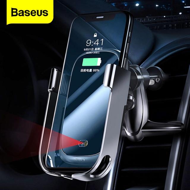 Baseus 10W Sạc Không Dây Qi Cho iPhone 11 Pro XS Max Samsung Giá Đỡ Điện Thoại Ô Tô Thông Minh Hồng Ngoại Nhanh sạc Không Dây