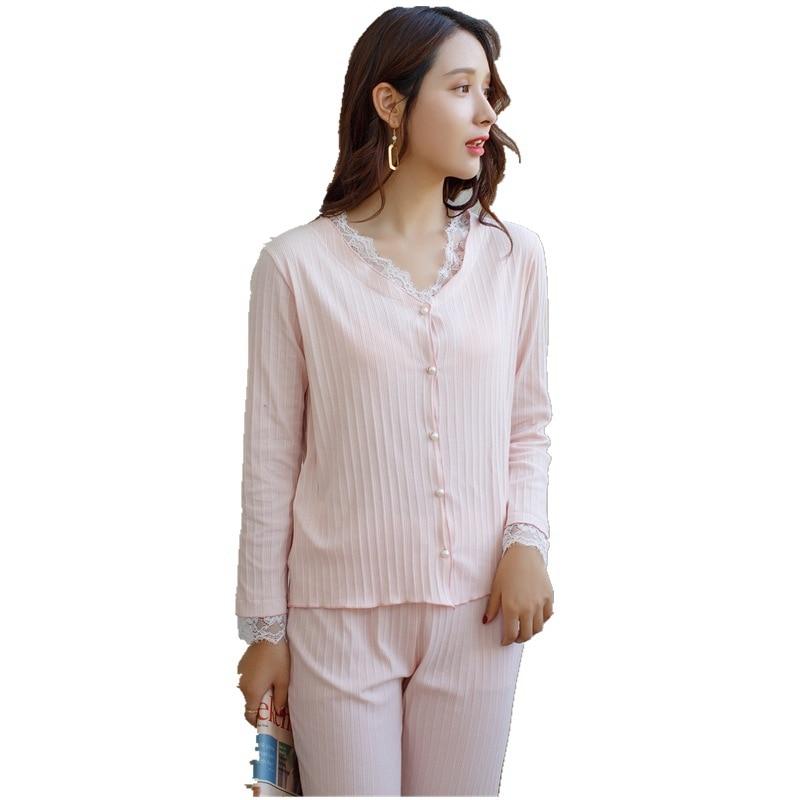 Pajamas pink suit Nightgown Korean pajamas women's cotton lace cute home service casual two-piece suit pijama feminino bathrobe