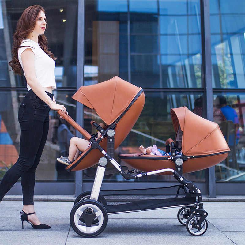 Babyfond Bayi Baru Lahir Mewah Kembar Stroller Kulit PU dengan Kursi Mobil Bayi 3 In 1 Tinggi Pemandangan Folding Double Bayi kereta Dorong Bayi