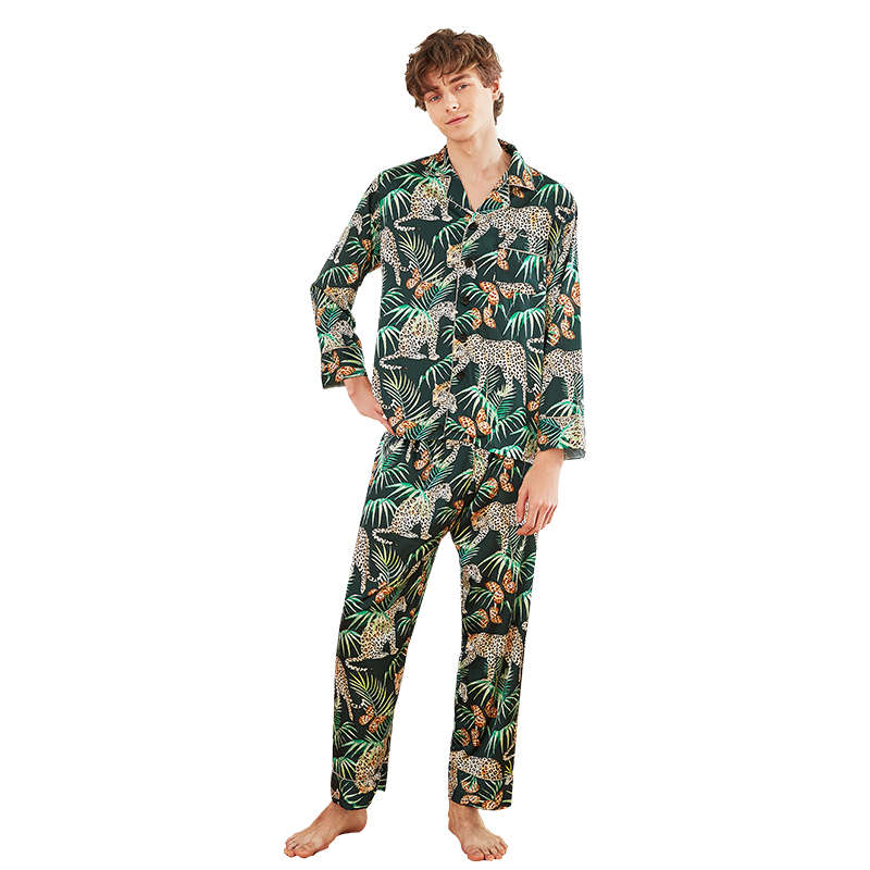 Silk New Style Simulation Silk Pajamas Men's Spring And Autumn Long Sleeved Trousers Comfortable Leisure Bath Home Suit