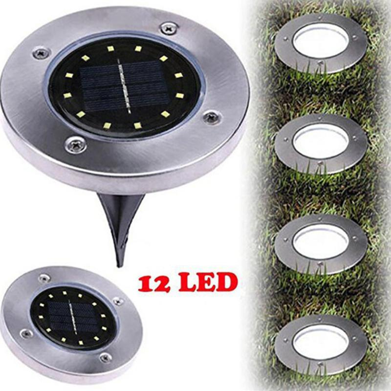 12 LEDs Solar Buried Light Stainless Steel Underground Lamp Outdoor Path Way Garden Decoration Lawn Lamp
