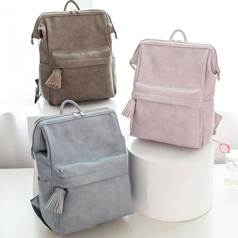 Leather Mummy Bag Shoulder Multifunctional Large Capacity Fashionable Baby Bag Mummy Diaper Bottle Backpack