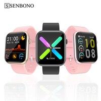 SENBONO-reloj inteligente R3L para hombre y mujer, completamente táctil, rastreador de Fitness, presión arterial, GTS, para IOS, Android, IWO, 2020