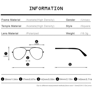Image 4 - ความหนาแน่นสูงAcetateแว่นตากันแดดPolarizedผู้ชาย 2019 ใหม่ผู้หญิงยี่ห้อDesignerแว่นตากันแดดเกาหลีสแควร์ดวงอาทิตย์แว่นตาสำหรับผู้ชายFONEX