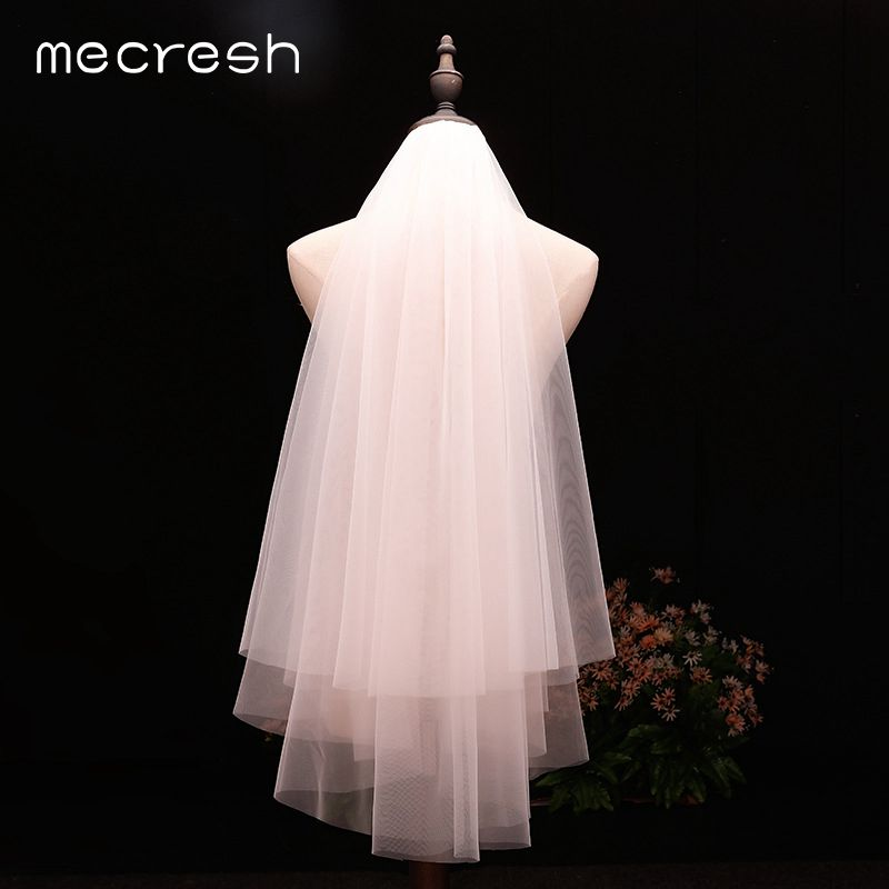 Mecresh Simple Double Layers Yarn Bridal Short Veils With Comb White Beige Elbow Length Bride Veils For Wedding Dress VTS024