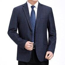 Men Suit Blazers Jackets Spring Slim-Fit Americana Long-Sleeve Business Plaid Leisure