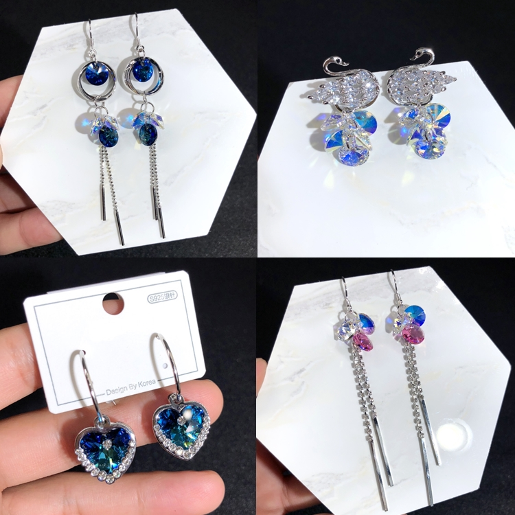 Warme Farben Crystals from Swarovski 925 Sliver Pin Earrings Korean Crystal Long Drop Earring for Party Brincos Gift to Lady title=