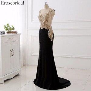 Image 3 - Erosebridal שחור שמלת ערב ארוך 2020 זהב תחרה סקסי לראות דרך חזרה Mermiad נשף שמלה ארוך פורמליות ערב שמלת ארוך רכבת