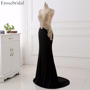 Image 3 - Erosebridal Black Evening Dress Long 2020 Gold Lace Sexy See Through Back Mermiad Prom Dress Long Formal Evening Gown Long Train