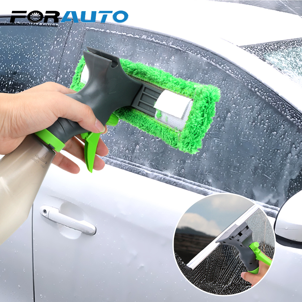 FORAUTO 3 In 1 Car Window Cleaning Tool Spray Bottle Wiper Squeegee Microfibre Cloth Kit Multifunction Brushes Windshield Clean