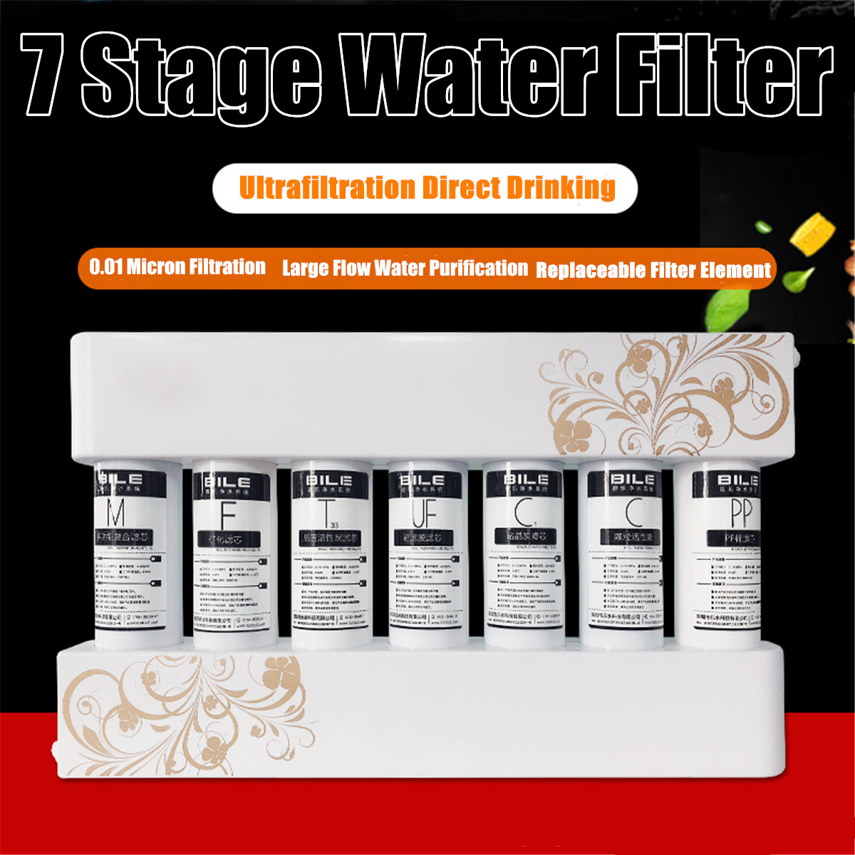 7 stages Ultrafiltration Drinking Water Filter System Home Kitchen Water Purifier Filter With Faucet Tap Water Filter Cartridge