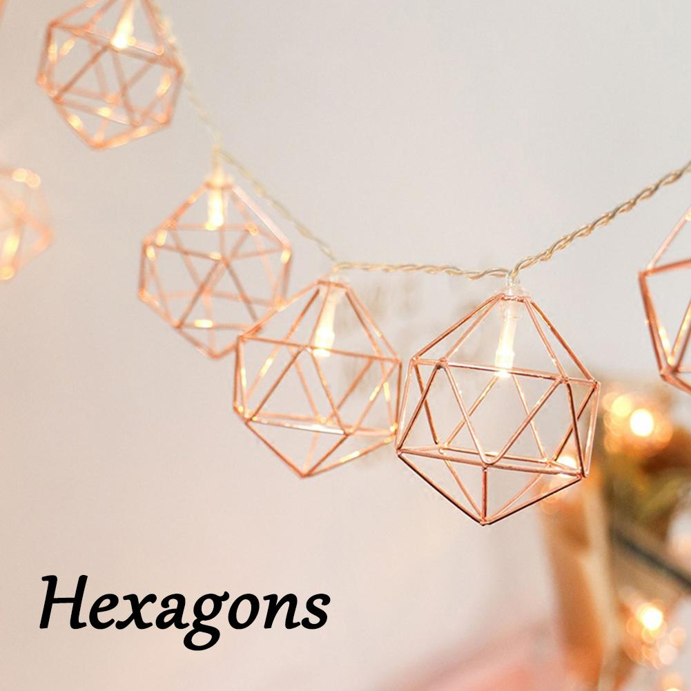 3M 20 LED Rose Gold Copper Wire Led String Light Iron Geometric Hexagons For Wedding Party Home Decor AA Battery Power